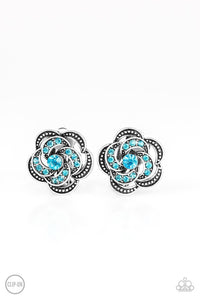 Garden Glitter Blue Silver Rhinestone Earrings  - Paparazzi Accessories Earrings - Paparazzi Accessories