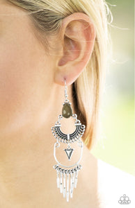 Progressively Pioneer Green Paparazzi Earrings - JewelTonez Jewelry