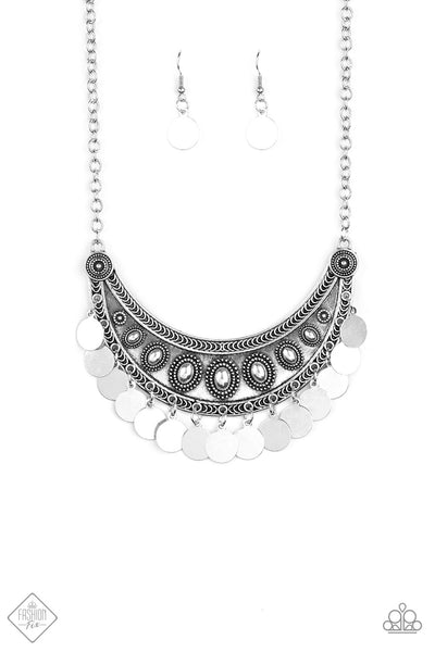 Chimes Up Silver Paparazzi Necklace - JewelTonez Jewelry