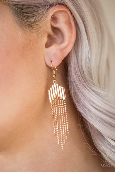Radically Retro Gold Paparazzi Earrings - JewelTonez Jewelry