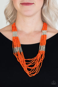 Let It Bead Orange Paparazzi Necklace - JewelTonez Jewelry