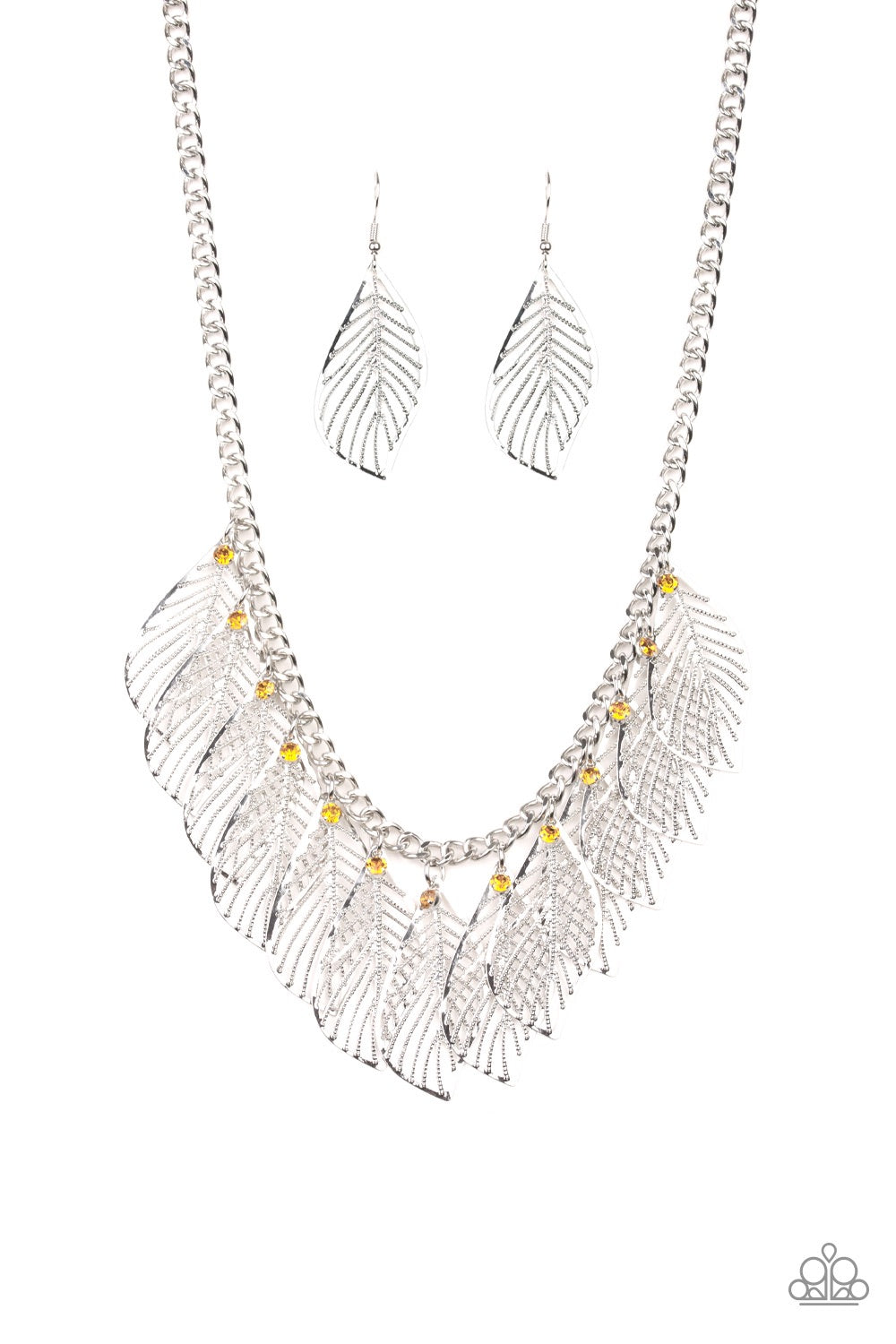 Feathery Foliage Yellow Necklace - Paparazzi - JewelTonez Jewelry