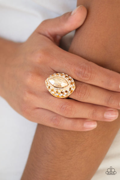 Royal Radiance Gold Rhinestone Ring - Paparazzi - JewelTonez Jewelry