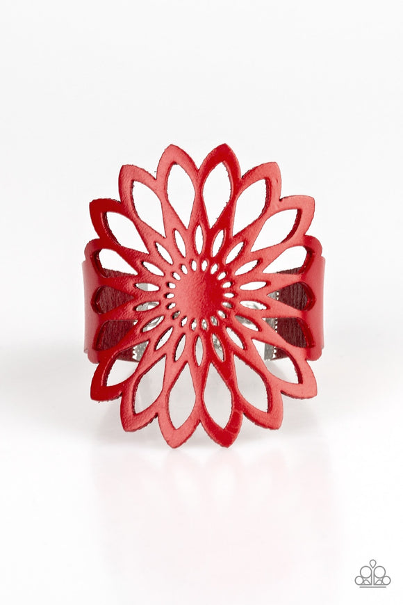 Wildly Wildflower Red Urban Leather Bracelet - Paparazzi Accessories