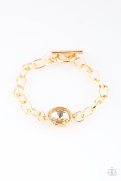 All Aglitter Gold Paparazzi Bracelet - JewelTonez Jewelry