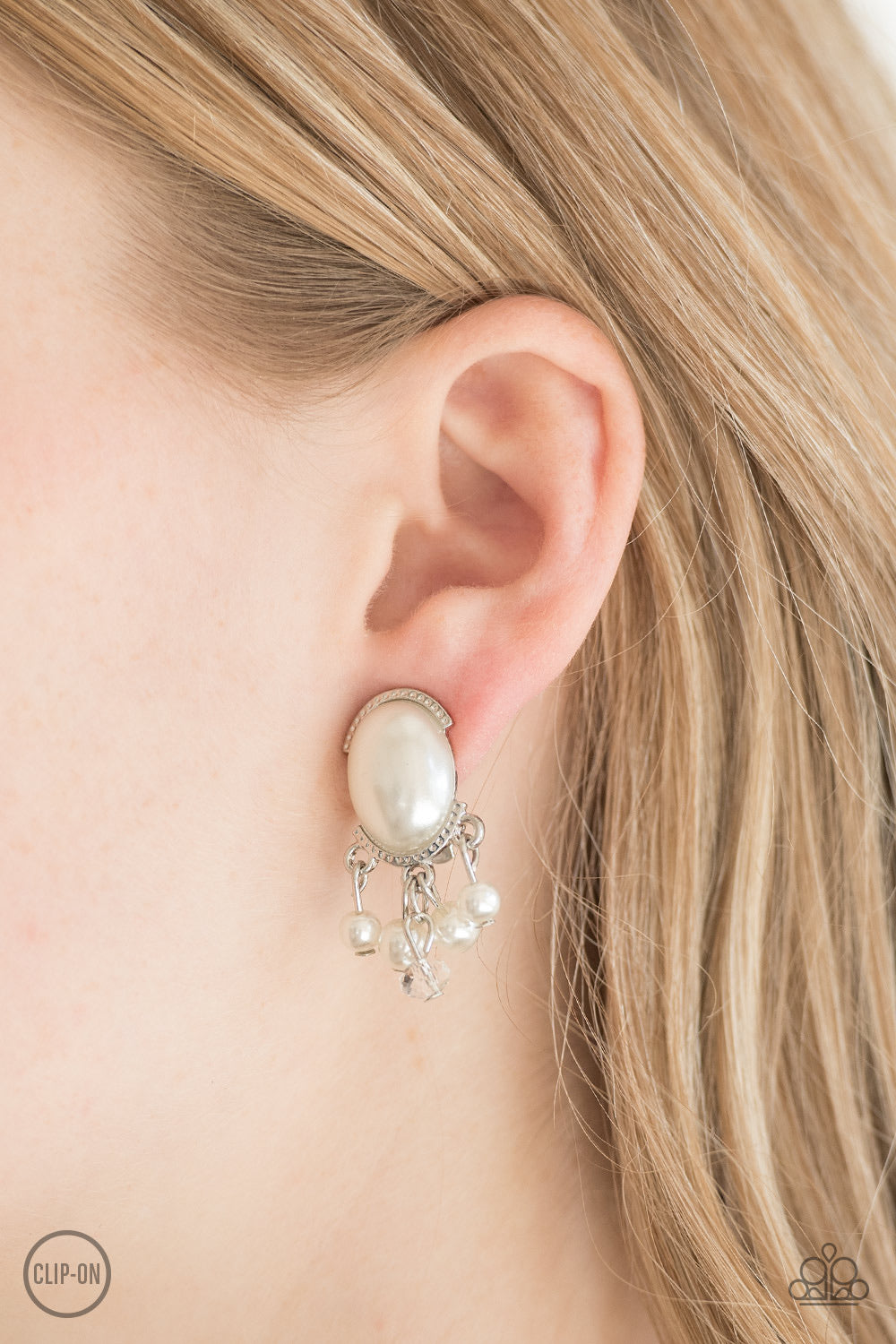 Classy Casablanca White Paparazzi Earrings - JewelTonez Jewelry