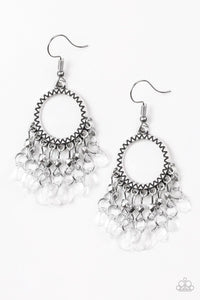JewelTonez Paradise Palace White Earrings - Paparazzi