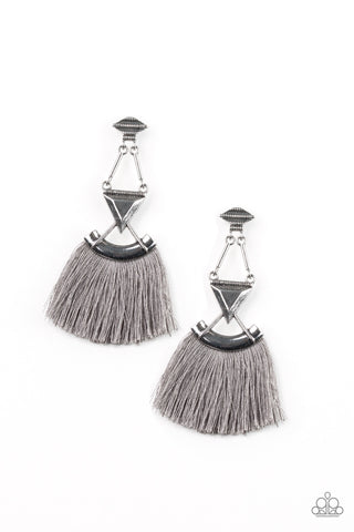 Puma Prowl Silver Fringe Earrings -Paparazzi