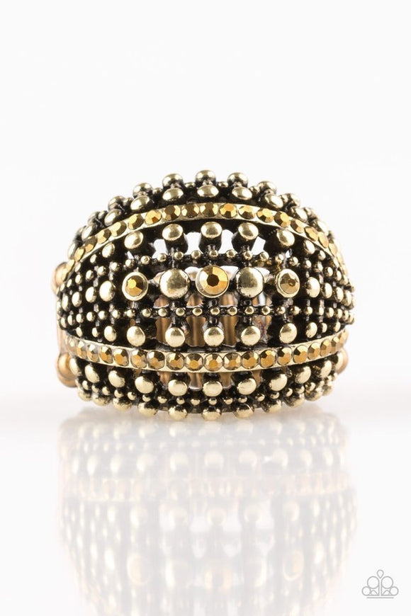 Up In Armor - Brass Ring - Paparazzi Accessories
