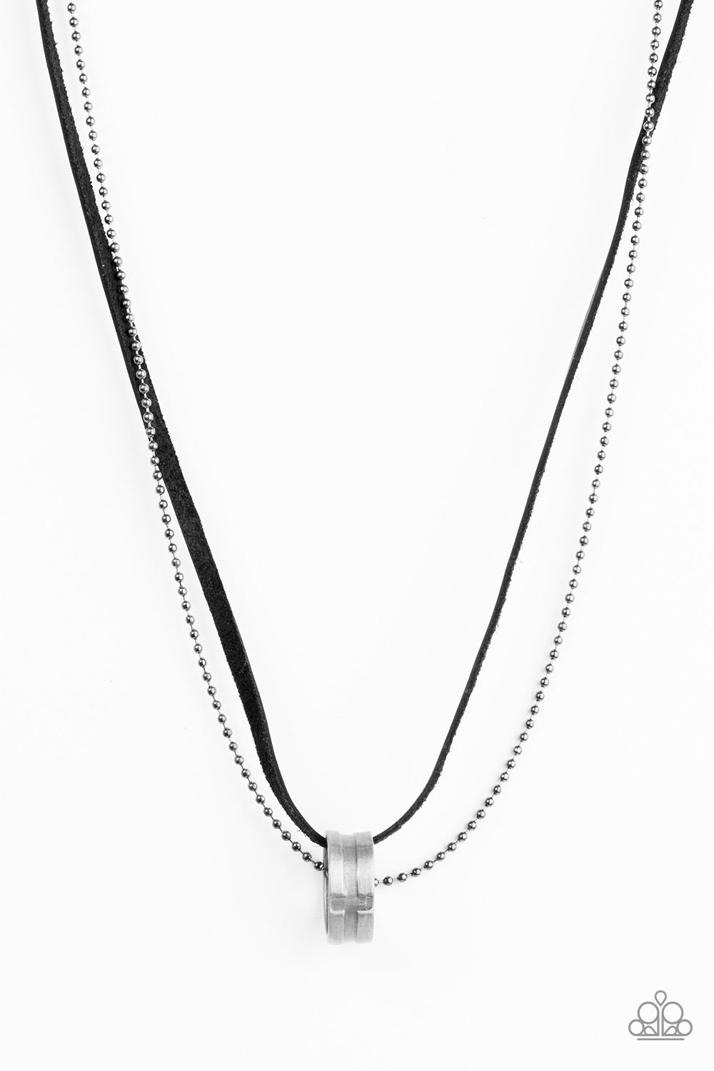 The Ring Bearer Men's Black Leather Necklace - Paparazzi - JewelTonez Jewelry