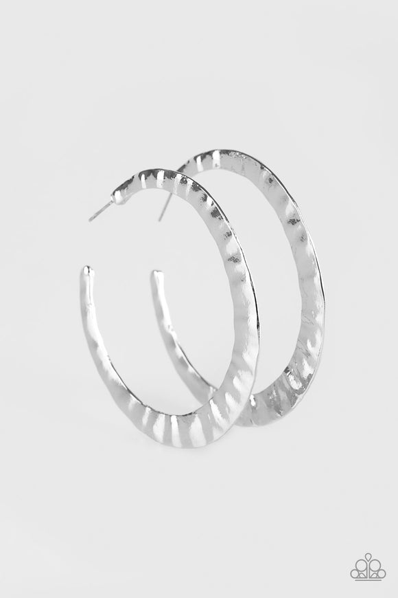 Slayers Gonna Slay Silver Hoop Earrings - Paparazzi Accessories Earrings - Paparazzi Accessories