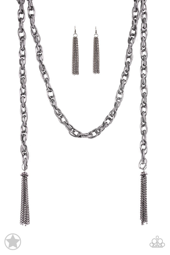 SCARFed for Attention - Gunmetal Necklace set - Paparazzi Jewelry Necklace set