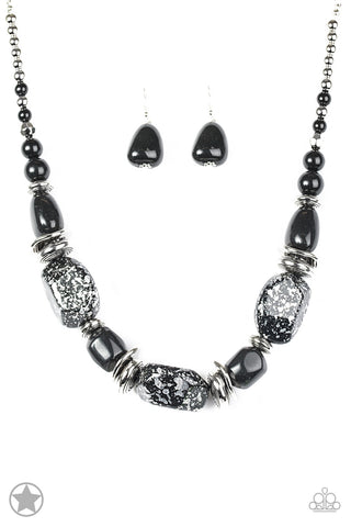 JewelTonez In Good Glazes Black Chunky Necklace - Paparazzi