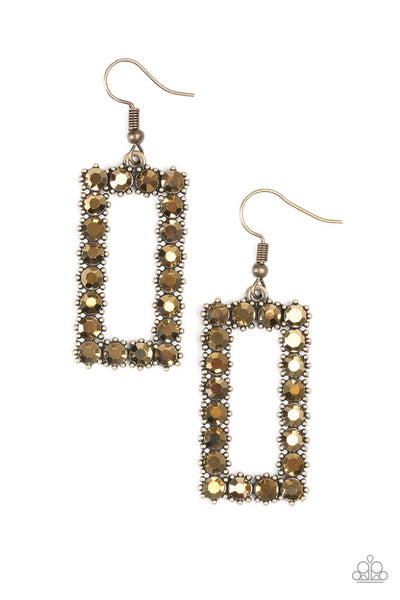 Mirror, Mirror Brass Paparazzi Earrings - JewelTonez Jewelry