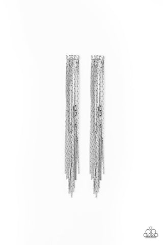 Night At The Oscars White Rhinestone Earrings - Paparazzi Accessories Earrings - Paparazzi Accessories