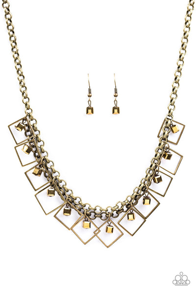 Geo Down In History Brass Paparazzi Necklace - JewelTonez Jewelry