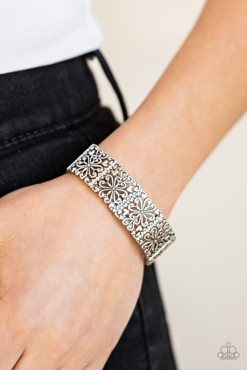 Summer Scandal Silver Paparazzi Bracelet - JewelTonez Jewelry