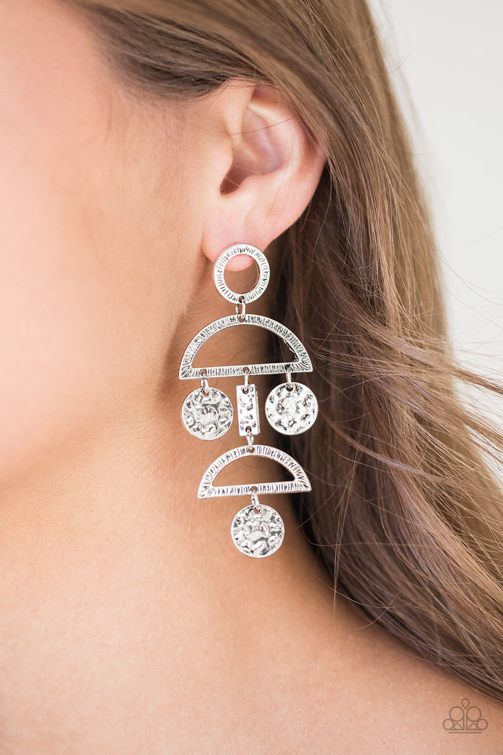 Incan Eclipse Silver Paparazzi Earring - JewelTonez Jewelry