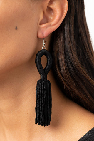 Tassels and Tiaras Black Paparazzi Earrings