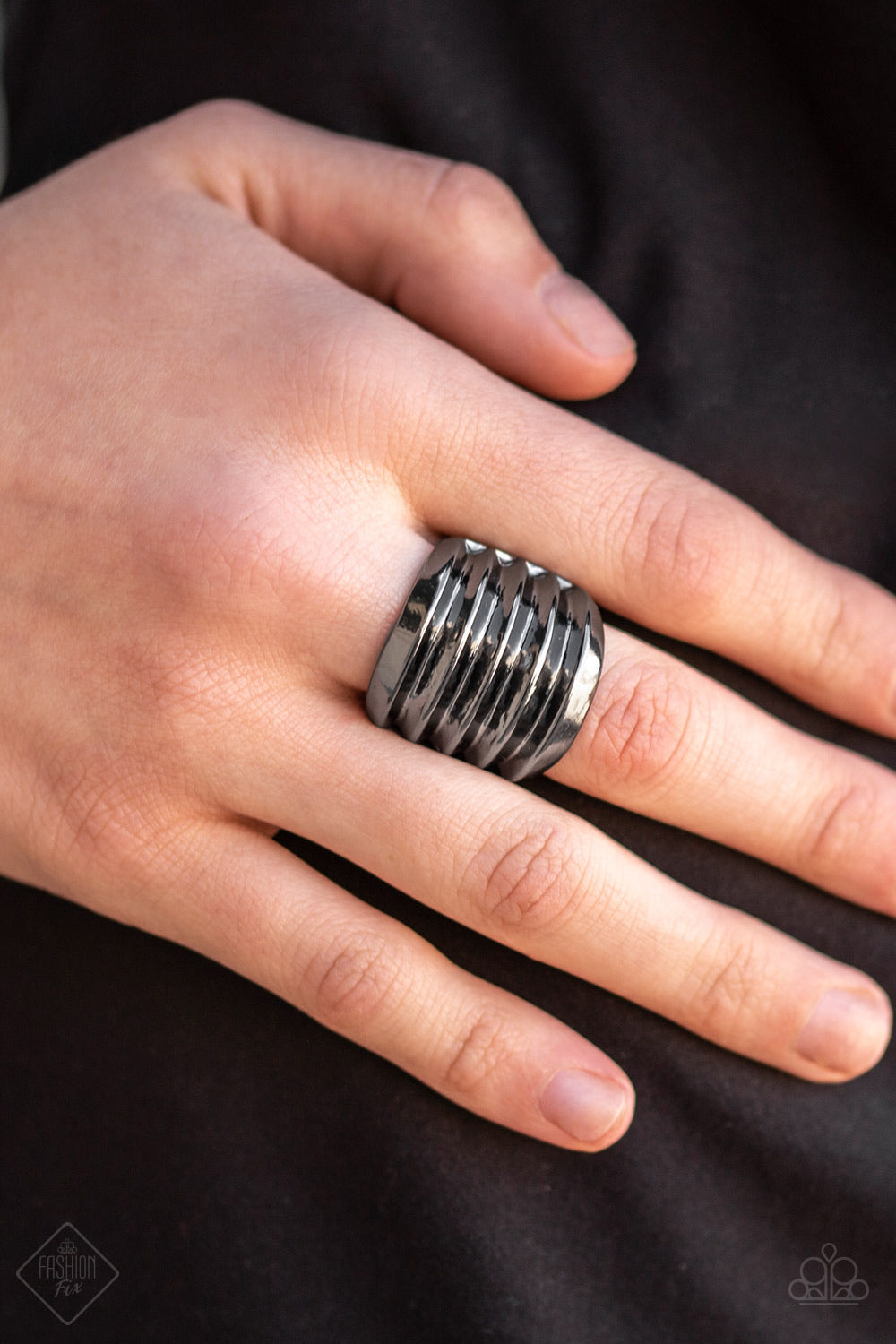 Hit 'Em Where It Hurts Black Paparazzi Ring - JewelTonez Jewelry