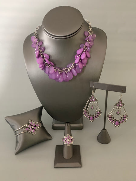 Colorfully Clustered Purple Paparazzi Necklace - JewelTonez Jewelry