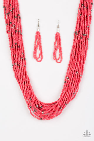 Summer Samba Orange Seed Bead Paparazzi Necklace - JewelTonez Jewelry