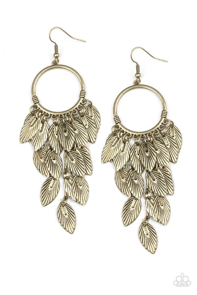 Feather Frenzy Brass Paparazzi Earrings - JewelTonez Jewelry