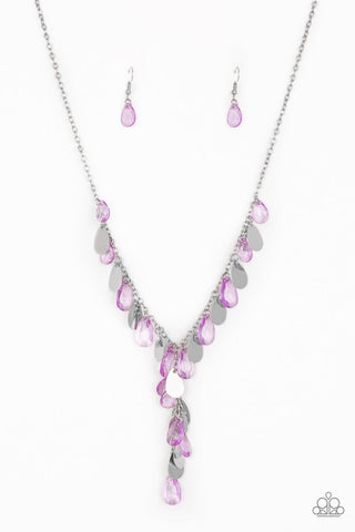Sailboat Sunsets Purple Teardrop Necklace - Paparazzi Accessories Necklace set - Paparazzi Accessories