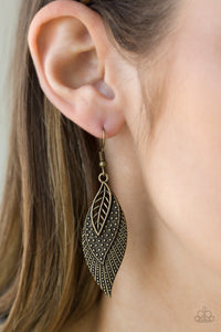 Wind Wanderer Brass Paparazzi Earrings - JewelTonez Jewelry