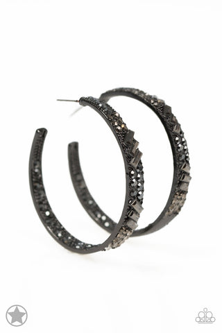 Glitzy By Association Black Rhinestone Hoop Blockbuster Earrings -Paparazzi