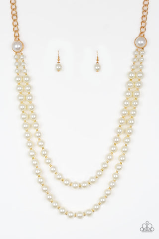 Endless Elegance Gold Pearl Necklace - Paparazzi Accessories Necklace set - Paparazzi Accessories