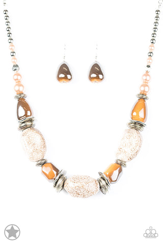 In Good Glazes Peach Chunky Blockbuster Necklace -  Paparazzi Accessories Necklace set - Paparazzi Accessories