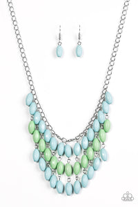 Delhi Diva Blue Green Beaded Necklace  - Paparazzi Accessories Necklace set - Paparazzi Accessories