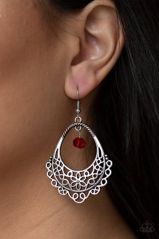 Garden Society Red Paparazzi Earrings - JewelTonez Jewelry