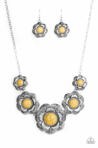 Santa Fe Hills Yellow Floral Paparazzi Necklace - JewelTonez Jewelry