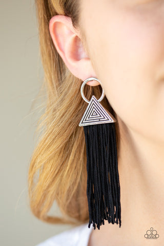 JewelTonez Oh My Giza Black Earrings- Paparazzi