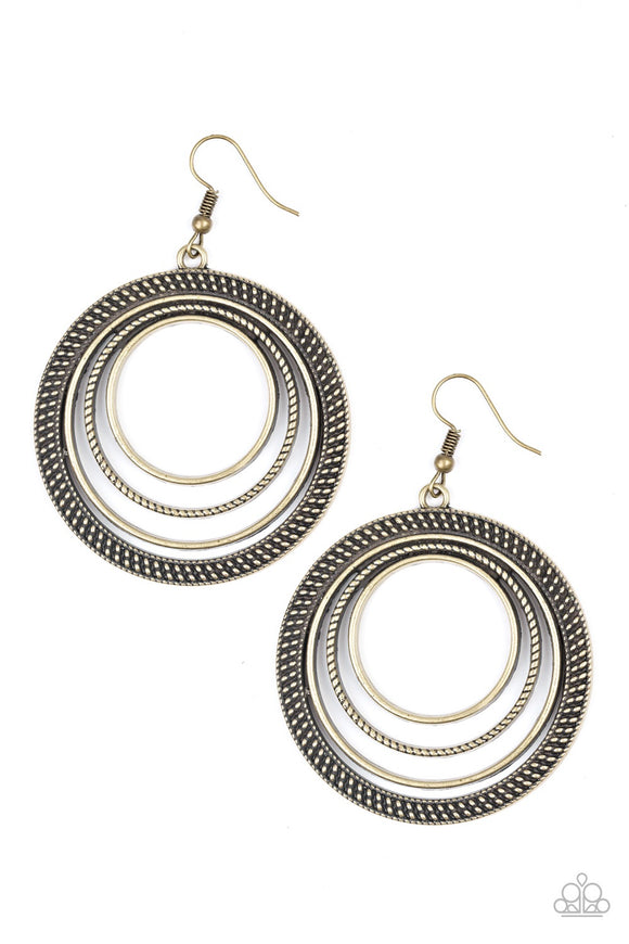 Totally Textured Brass Hoop Earrings - Paparazzi Accessories Earrings - Paparazzi Accessories