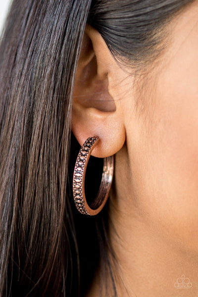 Playfully Peruvian Copper Paparazzi Earrings - JewelTonez Jewelry