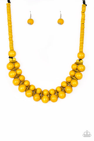 Caribbean Cover Girl Yellow Wood Necklace - Paparazzi Accessories Necklace set - Paparazzi Accessories