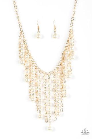 Stun Control Gold Pearl Fringe Necklace - Paparazzi Accessories Necklace set - Paparazzi Accessories