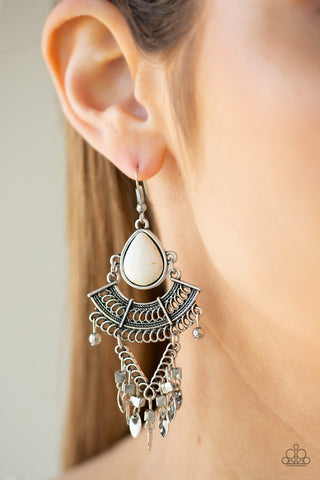 Vintage Vagabond White Paparazzi Earrings