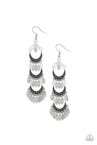 Take Your Chime Silver Earring - Paparazzi