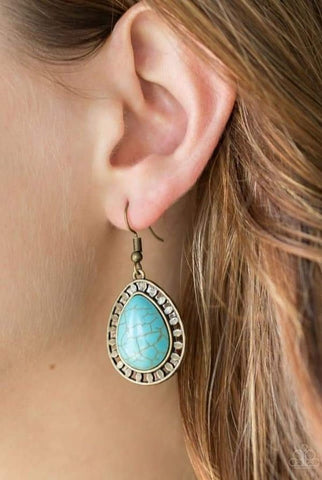 Sahara Serenity Brass Blue Paparazzi Earring - JewelTonez Jewelry