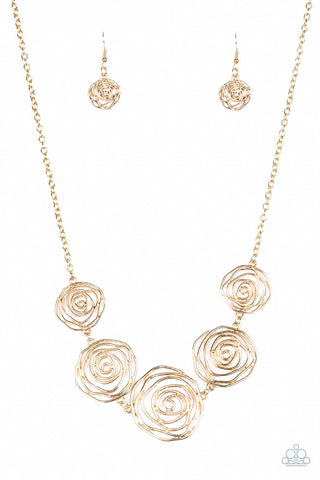 JewelTonez Rosy Rosette Gold Floral Necklace - Paparazzi