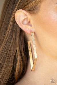 Way Over The Edge Gold Paparazzi Earrings - JewelTonez Jewelry