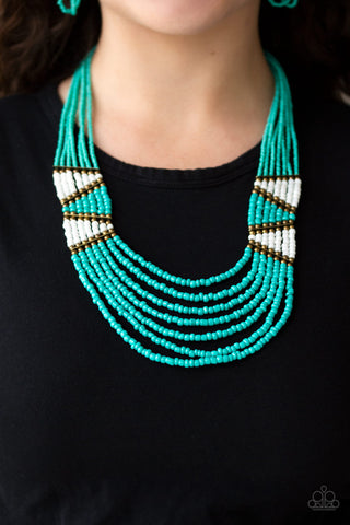 Kickin It Outback Blue Paparazzi Necklace - JewelTonez Jewelry