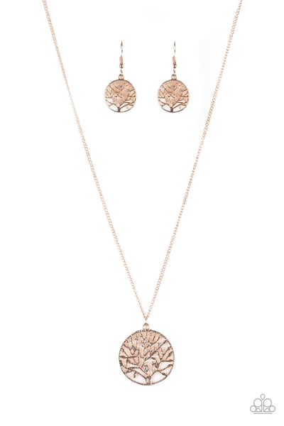 Save The Trees Rose Gold Paparazzi Necklace - JewelTonez Jewelry