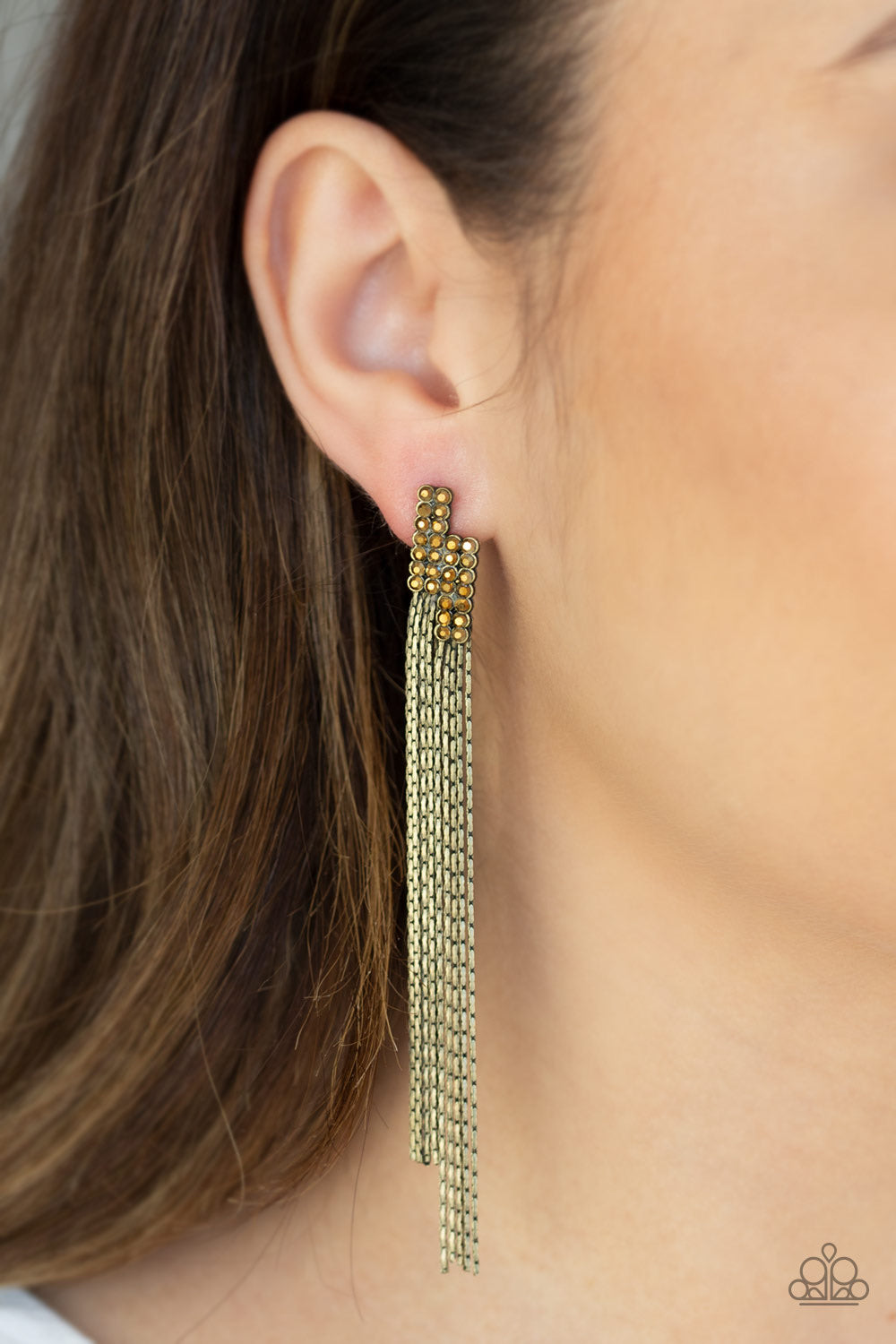 Radio Waves Brass Paparazzi Earrings - JewelTonez Jewelry