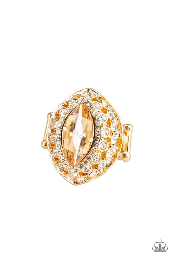 Royal Radiance Gold Rhinestone Ring - Paparazzi Accessories Ring - Paparazzi Accessories