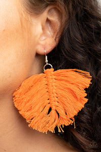 Macrame Mamba Orange Paparazzi Earrings - JewelTonez Jewelry